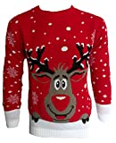 Blush Avenue, maglione a tema natalizio unisex, lavorato a maglia RED SMILING REINDEER M/L