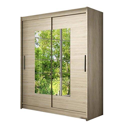 Schwebetürenschrank Westa III Kleiderschrank mit Spiegel, Modernes Schlafzimmerschrank, Schiebetürenschrank, Garderobe, Schlafzimmer (Sonoma)