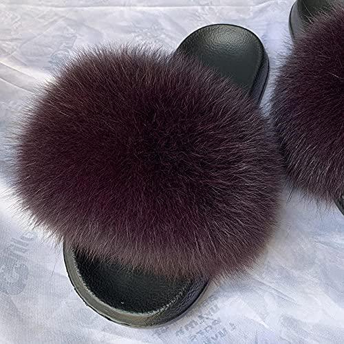 COQUI Slippers Pack,Nuevas Zapatillas para Padres y niños Zapatillas para niños Summer Cuero Cuero Hierba Pelo Cremallera-púrpura_28-29