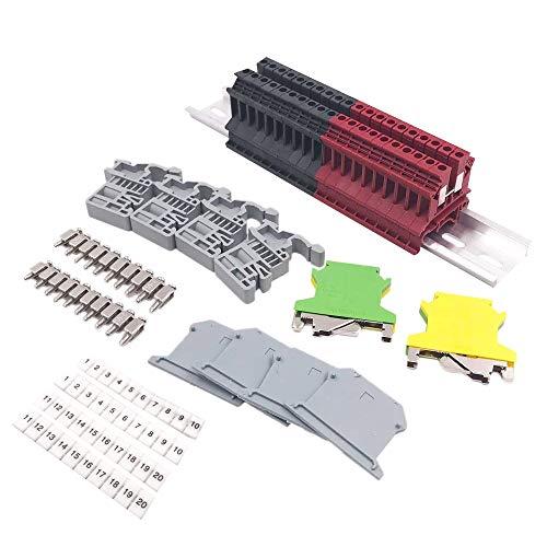 Haudang DIN Rail Morsettiere Kit Terminale+Blocchi di terra+Guida in alluminio+Staffe finali+Coperture di estremità+Kit Ponticelli