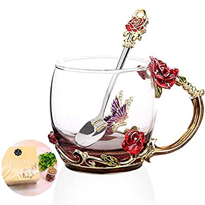 Tea Cup, Mother's Day Gifts, Coffee Mug Cups, Glass Coffee Cups Tea Mugs Handmade Butterfly Rose ,12 oz (Rose) Ideal for Friend Wedding Anniversary Birthday Presents