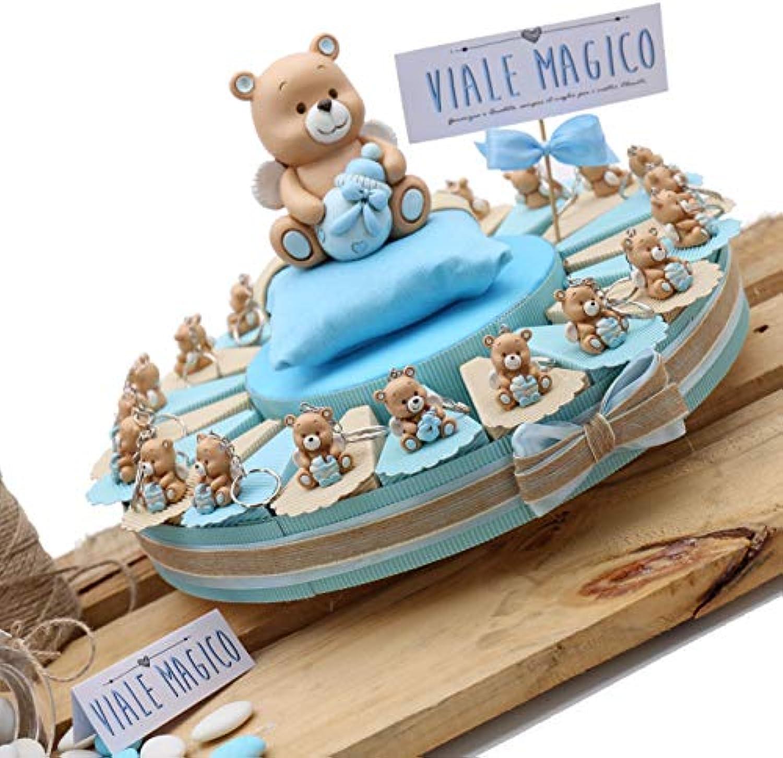 Bomboniere Geburt Taufe Erste Geburtstag Kuchen mit Figur Bren Kind aus Porzellan