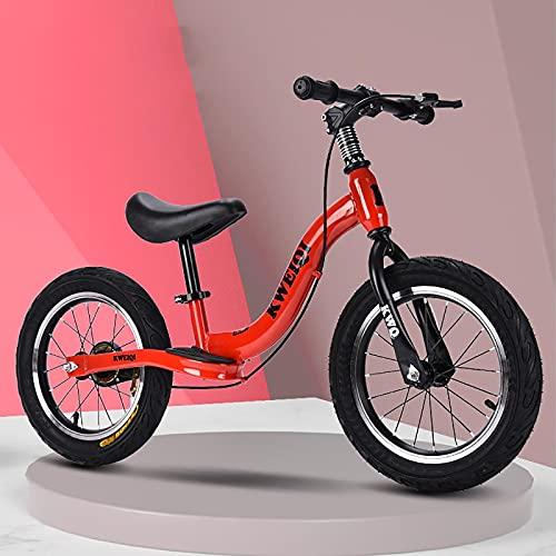 ZLI Bicicleta Equilibrio Ruedas 16in 14in Bicicleta Sin Pedales con Freno, Niña Bicicletas para Caminar para Deportes al Aire Libre - Asiento y Manillar Ajustables, Neumático a Prueba de Fugas, Rojo