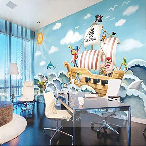 Tapeten Wandbild Hintergrundbild Fototapetegroßhandel Boat Jack Sparrow Wandbild Piraten 3D Cartoon Wandbild Tapete Für Baby Kinder Kinderzimmer 3D Wandmalereien Fresko, 300 * 210 Cm