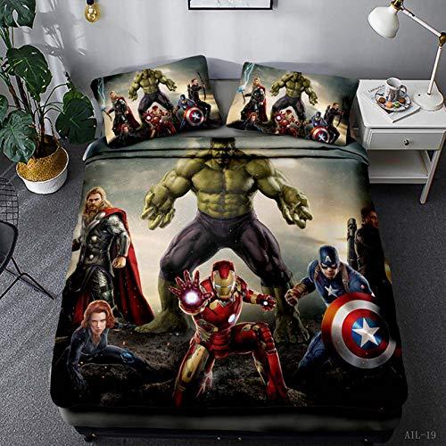 Bate - Funda de edredón de Marvel de Los Vengadores, juego de ropa de cama de Spiderman, Capitán América Hulk, para niños y niñas (135 x 200 cm)