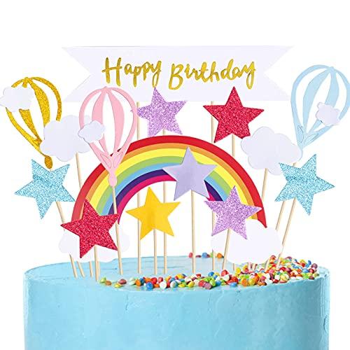 MELLIEX 17 Stück Tortendeko, Kuchendeko Geburtstag Regenbogen Sterne Happy Birthday Girlande Cake Topper Dekoration für Mädchen Junge Kinder