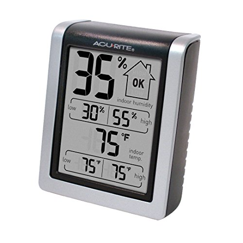 "AcuRite 00613 Digital Hygrometer & Indoor Thermometer Pre-Calibrated Humidity Gauge, 3"" H x 2.5"" W x 1.3"" D"
