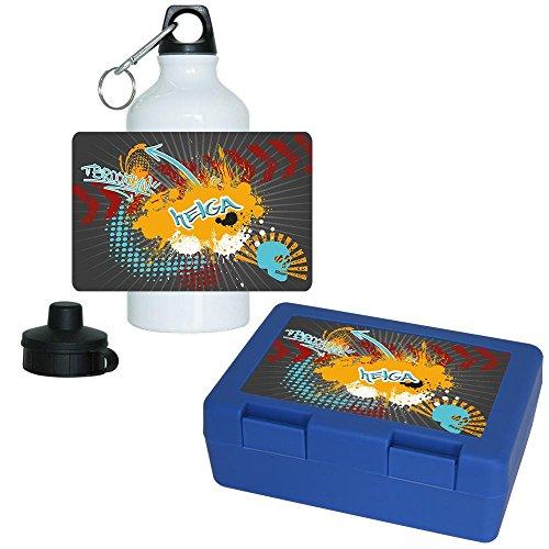 Brotdose + Trinkflasche Set mit Namen Helga und Motiv im modernen Graffiti-Style | Aluminium-Trinkflasche | Lunchbox | Vesper-Box
