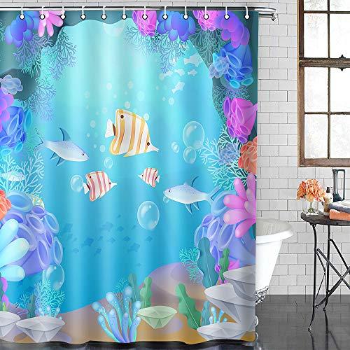 EULIFE gekleurde vis koraal onderwater wereld douchegordijn polyester stof snel drogen waterdichte anti-schimmel badkamer douchegordijnen onderwater wereld voor kinderen Set met 12 haken WQEU1696-