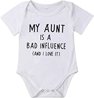 Meipitgy Newborn Infant Baby Boy Girls Short Sleeve Letter Printed Bodysuit Romper Jumpsuit Clothes, White Infant Bodysuit