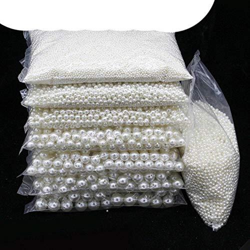 3 – 20 mm agujero recto/sin agujero de perlas acrílicas de imitación espaciador de cuentas sueltas collar DIY pendientes joyería joyería suministros de arroces, agujero recto, 16 mm, 20 piezas