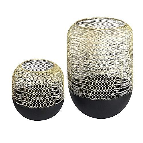 Casablanca Windlicht Orlando Metall Höhe 15 cm schwarz/Gold, Tischdeko, Geschenk, Beleuchtung