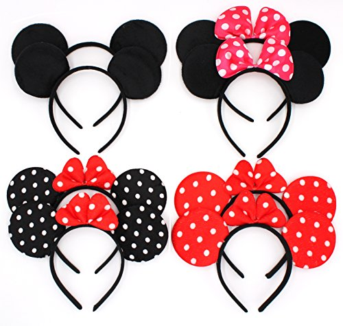 FIVOENDAR Pack of 8 with 4 Kinds - Mouse Adorable Ear Dots Solid Various Style Black and Bow Headband for Boys and Girls Birthday Party or Celebrations (Pack of 8)