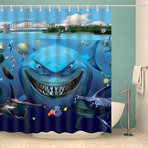 nobrand OceanCube Duschvorhang-Set The Big Shark Smile with Nemo and Sally Cute and Funny Polyester Fabric Bath Curtain Durable Bathroom Curtain with Hooks 180 x 180 cm