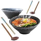 2 Sätze / 6 Stück Japanische Keramik Ramen Schüssel Set, 23,5cm / 9Inch, Füllmenge 1350 ml Vintage Salat Schüssel Tiefe Suppe Schüssel, Müslischale, Enthalten Löffel und Essstäbchen