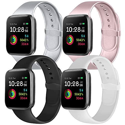 Ameni Correa Compatible con Apple Watch 44mm 42mm 40mm 38mm, Pulsera Silicona Suave de Repuesto para iWatch Series 5 4 3 2 1 (38mm/40mm S/M, Oro Rosa/Plata/Blanco/Negro)