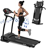 LIVSPO Treadmills for Home Foldable - 1.5HP 12KM/H with Bluetooth/APP Control/Incline, Portable Electric Folding Treadmill 12 Programs LED Screen for Running Walking Jogging Exercise for Home Office
