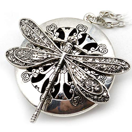 Kaxofang 1Pc Antique Silver Dragonfly Aromatherapy Diffuser Pendant Necklace