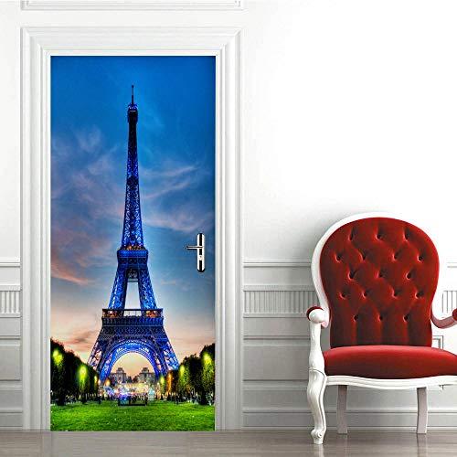 Mural para Puerta Autoadhesivo Pvc Impermeable Extraíble Papel Pintado Puerta Torre Eiffel Azul Diy decoraciones para Puerta Sala de Baño Estar Dormitorio 95x215cm