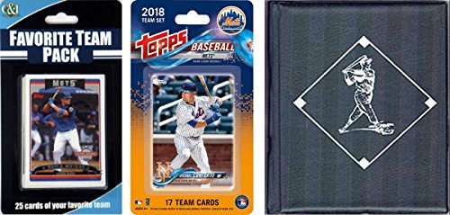 C&I Collectables MLB New York Mets para hombre 2018Metstscmlb New York Mets con licencia 2018 Topps Team Set & Favorito Player Trading Cards Plus álbum de almacenamiento, marrón, N/A