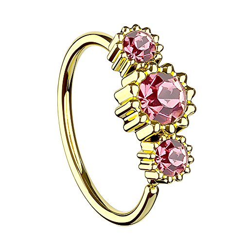 Piersando Universal Piercing Ring für Septum Tragus Helix Ohr Nase Lippe Brust Intim mit 3 Strass Kristallen Gold Vergoldet Rosa