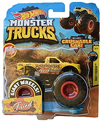 Hot Wheels Monster Trucks 1:64 Scale All Fried Up Crushable Car 9/75, Yellow by Mattel
