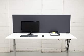 Desk Partition Office Furniture Workstation Divider with Black Clamp Brackets 500mm X 1800mm Charcoal