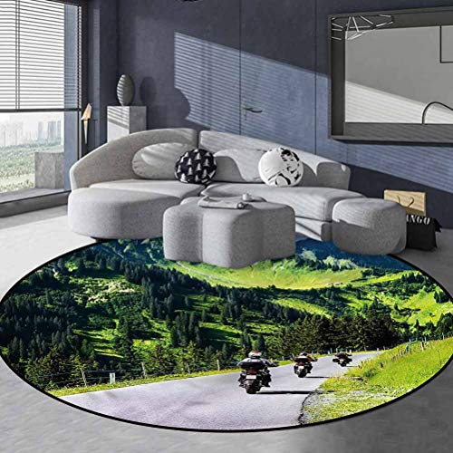 Mountain Polyester Classic Pattern Round Rug Chromatic Collection Modern Abstract Bike Riders on Mountain 3' in Diameter