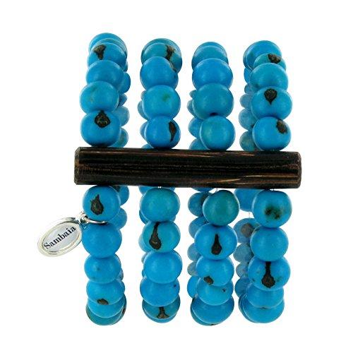 Sambaia Armband aus Acai Samen, vierreihig, in vielen Farben erhältlich, original, blau