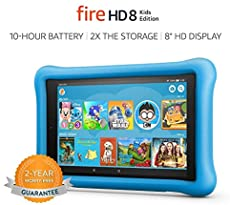 """Fire HD 8 Kids Edition Tablet, 8"""" HD Display, 32 GB, Blue Kid-Proof Case (Previous Generation - 8th)"""