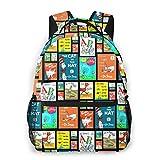 8byeliu 3D Print Dr. Seuss Collage Casual Backpack,Multifunctional Schoolbag Knapsack Rucksack
