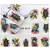 Full Set Black Owl Watercolor Nail Sticker Salon Quality Nail Art Nail Wrap Nail Decals - 1 Sheet