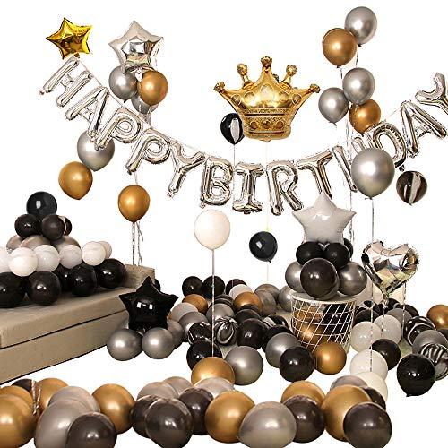 Ponmoo 110 Pezzi Kit Palloncini Decorazioni per Feste di Compleanno per Adulti, Palloncini Argento Nero Oro, Foil Corona Happy Birthday Bandiera Palloncino, Buon Compleanno Kit per Party decorazion
