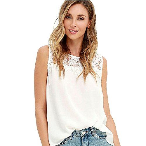 Camiseta de Verano para Mujer, Camisa de Gasa, Camisa sin Mangas para Mujer, Camisa de Encaje Casual para Mujer, Camisa de Flores Sexy, Blusas