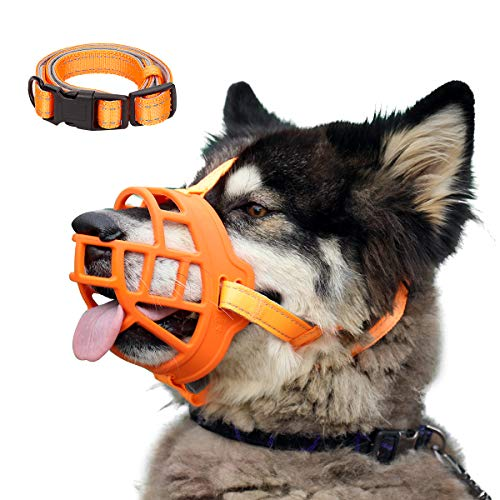 Dog Muzzle, Soft Silicone Basket Muzzle for Dogs, Allows Panting and Drinking, Prevents Unwanted Barking Biting and Chewing, Included Collar and Training Guide (4 (Snout 12-13.5