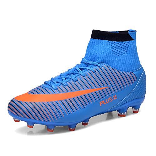 KKLT Zapatos de fútbol juvenil, Fg/tf para niños, botas de entrenamiento de fútbol, transpirables, para correr de pista y campo, zapatos unisex para deportes al aire libre (44, azul)