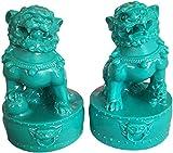 Pareja de perros Fu Foo Guardian Lion Statues Riqueza Porsperidad Figurita de inauguración de la casa Regalo de felicitación Feng Shui Decoración