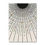 LiMengQi Ilustración de Sol a Mediados de Siglo Pintura Abstracta Lienzo Rayas Arte geométrico póster impresión Inicio decoración de la Pared(No Frame)