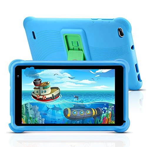 qunyiCO Y7 Kinder Tablet 7 Zoll, Tablet für Kids, 1024 * 600 Full HD-Display, 10,0 Android GO, 2 GB RAM, 32 GB ROM, IWAWA-App mit GMS-Zertifizierung, Kindersicherungsmodus für Zeit und Inhalt, Blau
