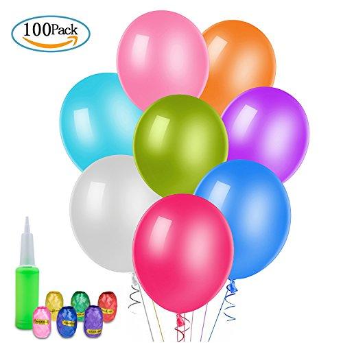 WolinTek [100 Piezas] Globos de Fiesta de Colores Diversos, Globos de Látex con Cintas para Decoraciones de Fiesta, Bodas, Fiestas de Cumpleaños