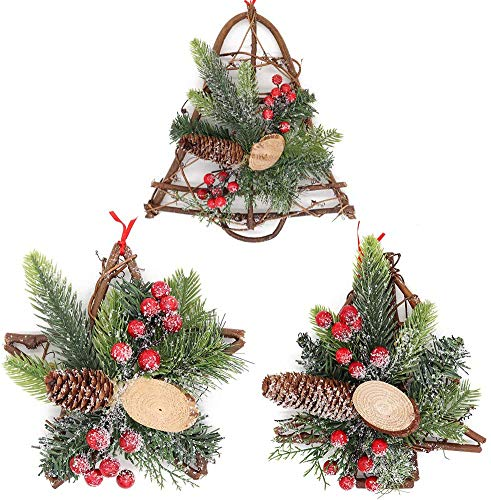 3 Piezas de Muérdago Guirnalda de Vid de Navidad Cubierta de Nieve