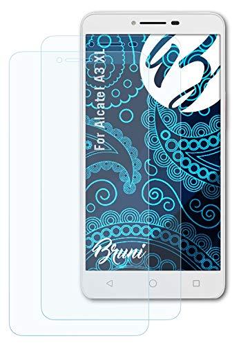 Bruni Schutzfolie kompatibel mit Alcatel A3 XL Folie, glasklare Bildschirmschutzfolie (2X)