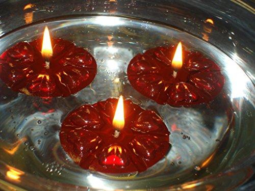 Mágico de Agua flotante de velas, 40 reutilizable rojo flotadores y 100 larga duración la piel y ayuda a. Centro de mesa para boda