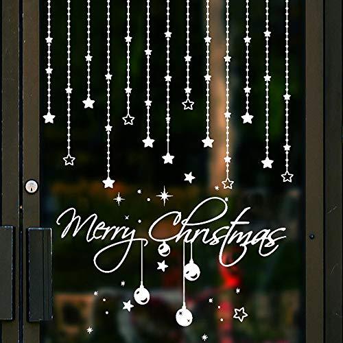 Kungfu Mall Creativo Extraíble Navidad Copo de nieve DIY Pegatinas de pared y Feliz Navidad Estrella Etiqueta de la pared para la etiqueta de la pared festiva