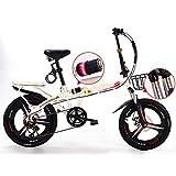 Pliable Velo Aluminium Homme,vélo Léger Femme Ville Bicyclette Adulte Réglables Cadre en Acier Guidon Et Selle Comfort,léger,6 Vitesse,capacité De 140kg,White