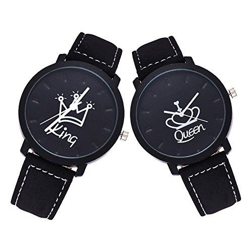 HuntGold Fashion King Queen Armbanduhr Krone Design Elektronisches Uhrwerk Kunstleder Band Armbanduhr für Paare Liebhaber Jahrestag Geburtstag Geschenk (King & Queen)
