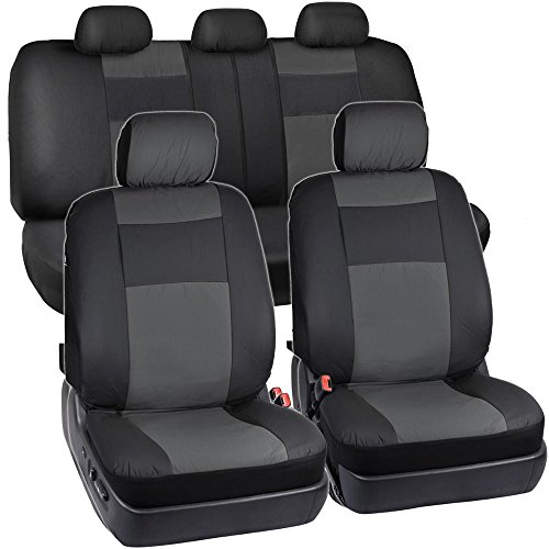 BDK OS-409-CC-A_am Black & Charcoal Synthetic Leather Seat Covers for Car SUV Van - Affordable PU Vinyle Replacement Covers