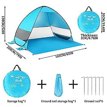 LZYMSZ Tente de plage, pare-soleil UPF 50 +, tente légère et respirante, abris automatiques avec sac de transport pour 2 à 3 personnes pour plage, pique-nique, week-end, parc (Bleu)