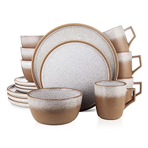 Stone Lain Vince Rustic Stoneware Reactive Glaze Dinnerware Set, Service for 4, Brown, 16 Piece