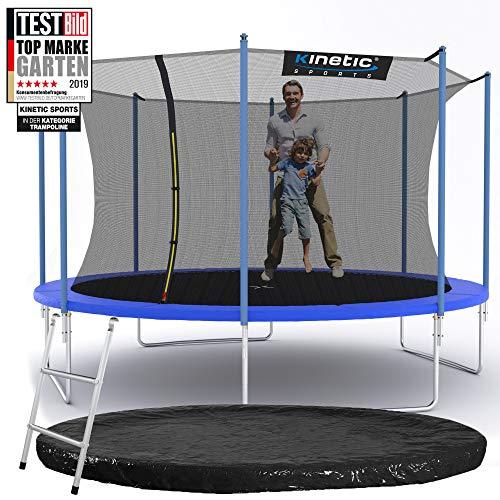 Kinetic Sports Outdoor Gartentrampolin Ø 396 cm, TPLS13, inklusive Sprungtuch aus USA PP-Mesh +Sicherheitsnetz +Rand- u. Regen-Abdeckung +Leiter, bis 150kg, UV-beständig, BLAU